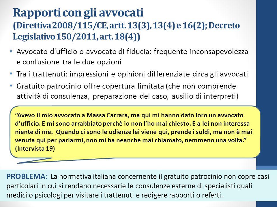 Rapporti con gli avvocati (Direttiva 2008/115/CE, artt.