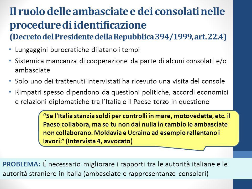 Il ruolo delle ambasciate e dei consolati nelle procedure di identificazione (Decreto del Presidente della Repubblica 394/1999, art.