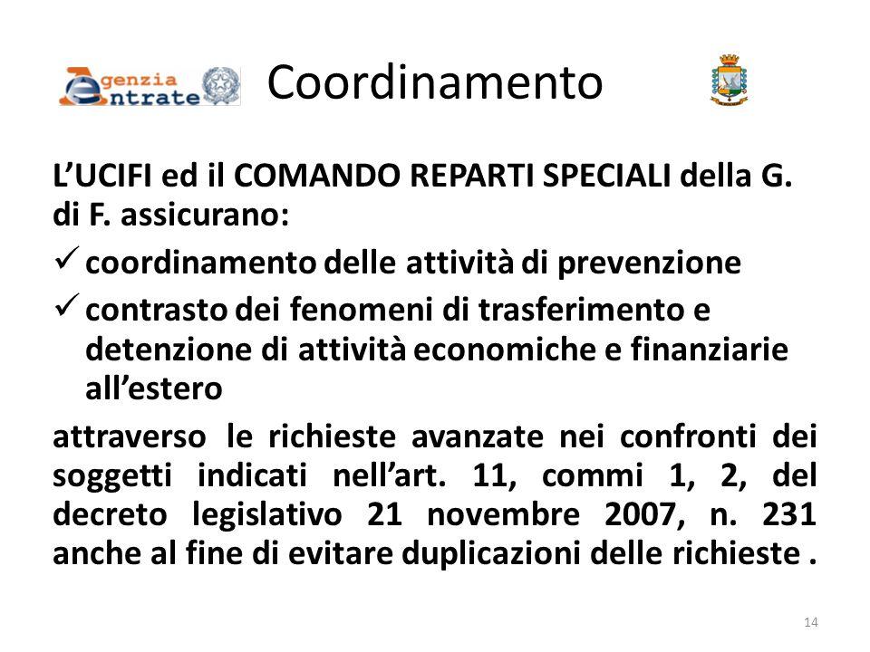 Coordinamento L'UCIFI ed il COMANDO REPARTI SPECIALI della G. di F. assicurano: coordinamento delle attività di prevenzione contrasto dei fenomeni di