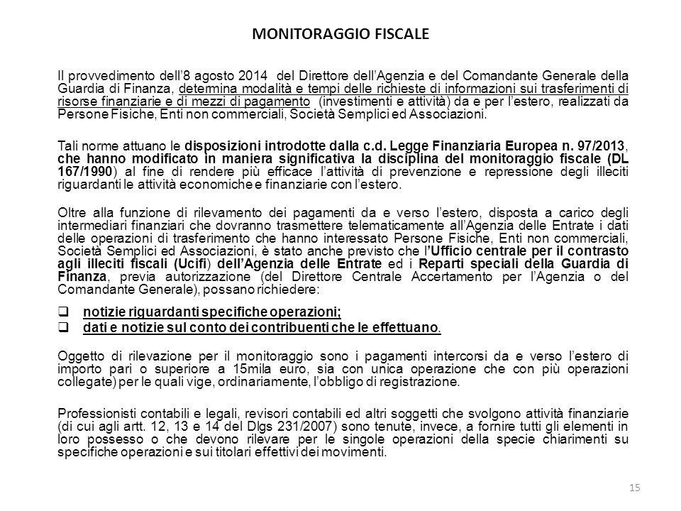 MONITORAGGIO FISCALE Il provvedimento dell'8 agosto 2014 del Direttore dell'Agenzia e del Comandante Generale della Guardia di Finanza, determina moda