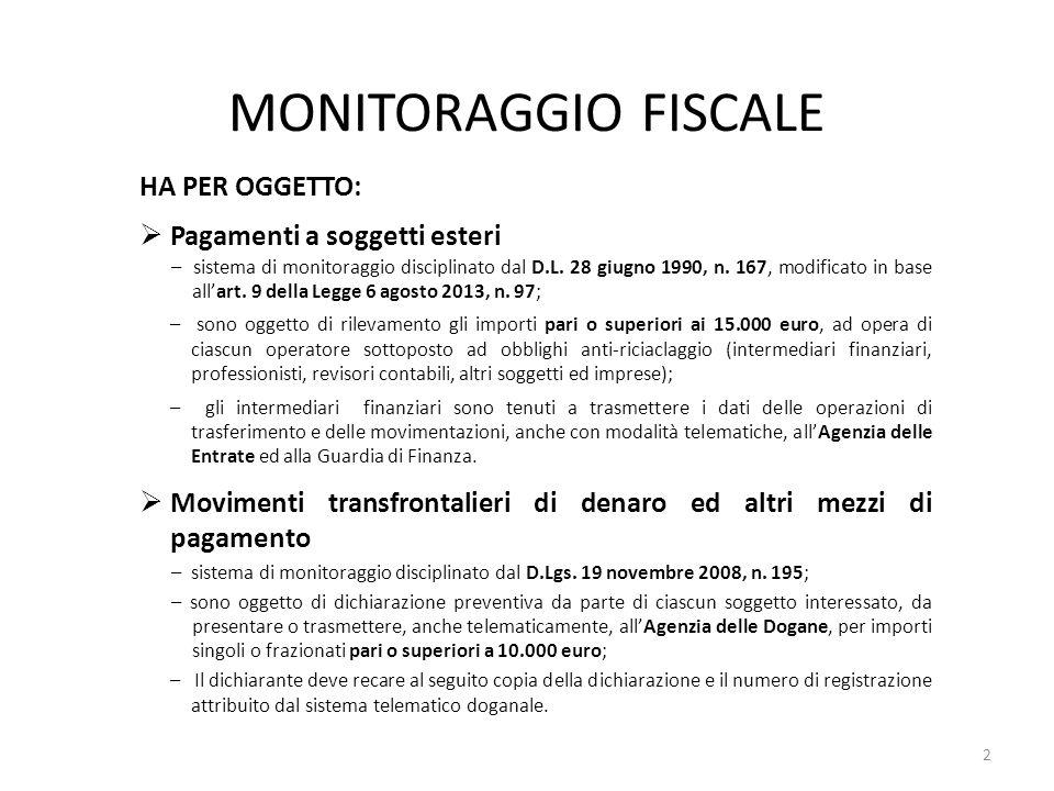 MONITORAGGIO FISCALE HA PER OGGETTO:  Pagamenti a soggetti esteri – sistema di monitoraggio disciplinato dal D.L. 28 giugno 1990, n. 167, modificato
