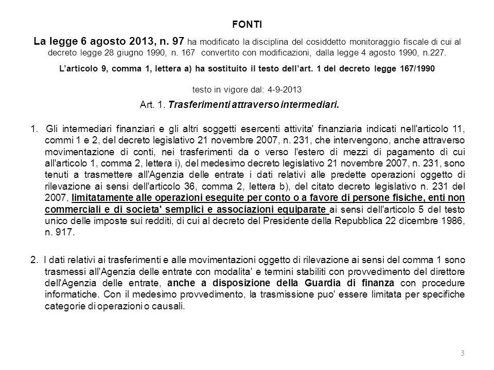 FONTI La legge 6 agosto 2013, n. 97 ha modificato la disciplina del cosiddetto monitoraggio fiscale di cui al decreto legge 28 giugno 1990, n. 167 con