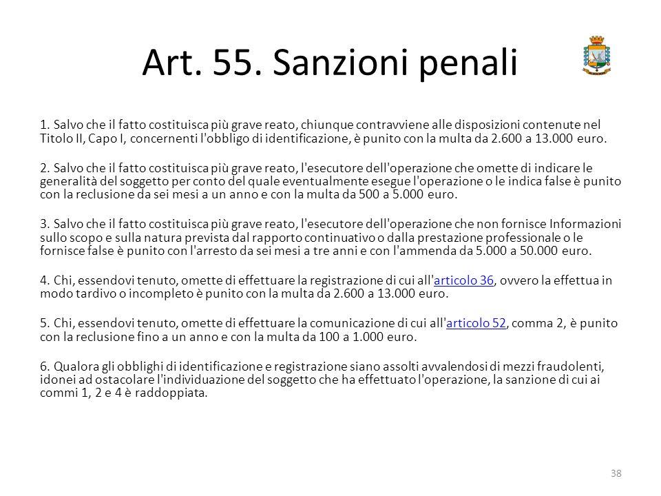 Art. 55. Sanzioni penali 1. Salvo che il fatto costituisca più grave reato, chiunque contravviene alle disposizioni contenute nel Titolo II, Capo I, c