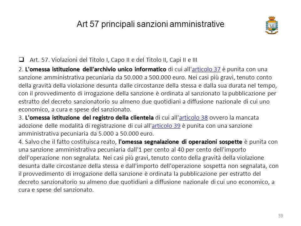 Art 57 principali sanzioni amministrative  Art. 57. Violazioni del Titolo I, Capo II e del Titolo II, Capi II e III L'omessa istituzione dell'archivi
