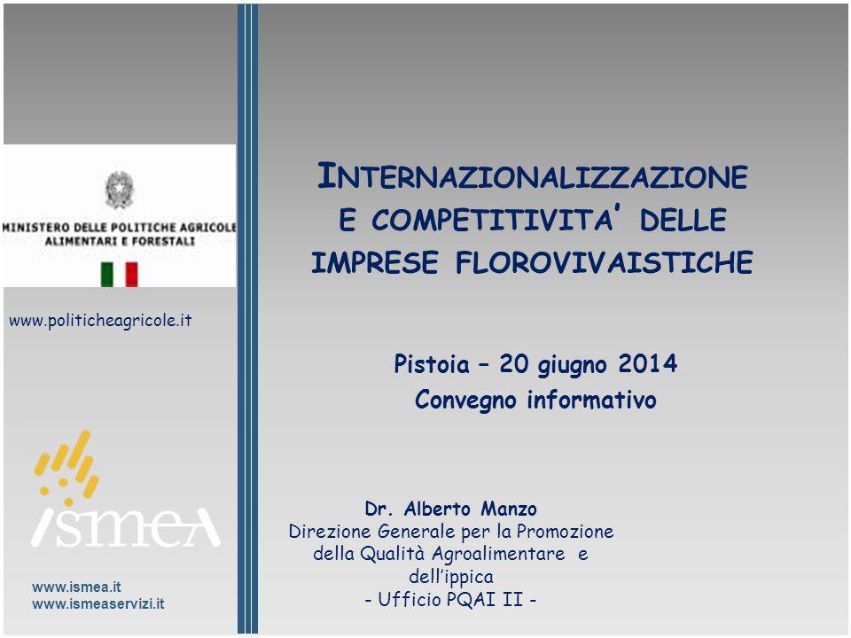 www.ismea.it www.ismeaservizi.it I NTERNAZIONALIZZAZIONE E COMPETITIVITA ' DELLE IMPRESE FLOROVIVAISTICHE Pistoia – 20 giugno 2014 Convegno informativo Dr.