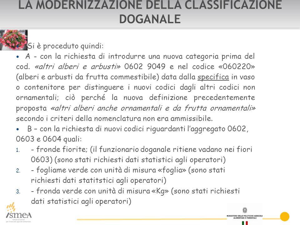 LA MODERNIZZAZIONE DELLA CLASSIFICAZIONE DOGANALE Si è proceduto quindi: A - con la richiesta di introdurre una nuova categoria prima del cod.
