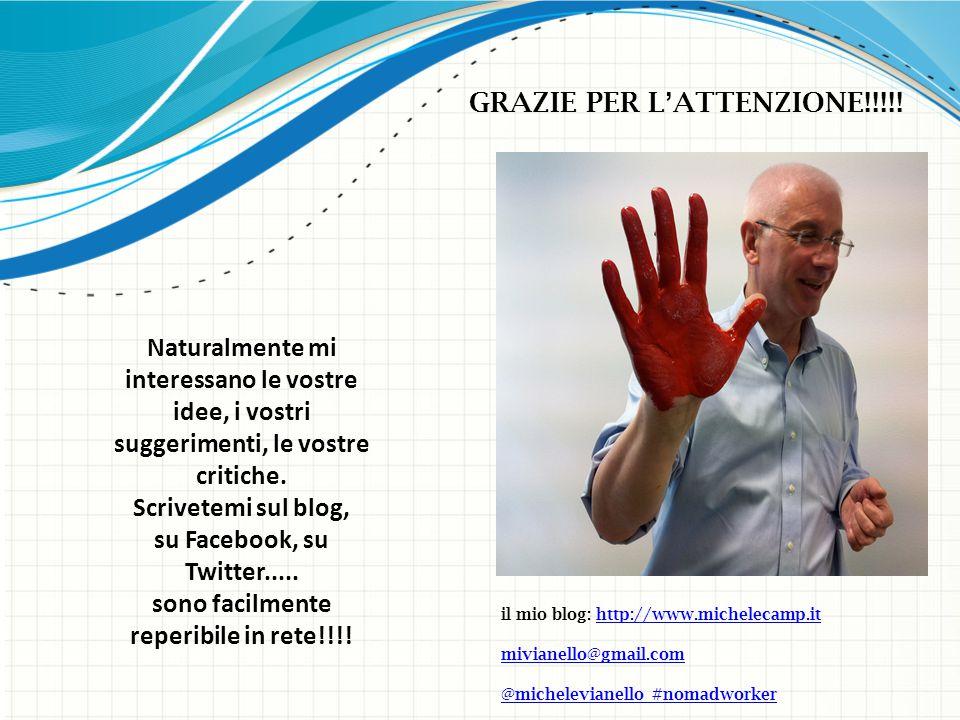 il mio blog: http://www.michelecamp.ithttp://www.michelecamp.it mivianello@gmail.com @michelevianello #nomadworker Naturalmente mi interessano le vostre idee, i vostri suggerimenti, le vostre critiche.