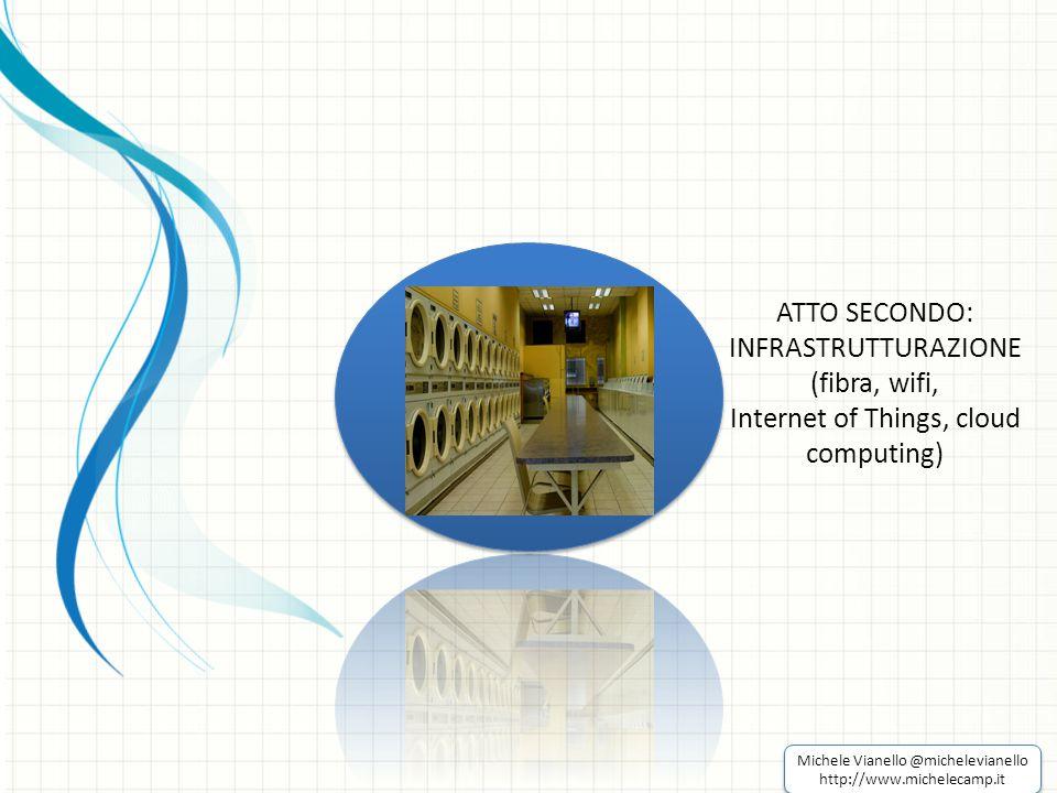 ATTO SECONDO: INFRASTRUTTURAZIONE (fibra, wifi, Internet of Things, cloud computing) Michele Vianello @michelevianello http://www.michelecamp.it Michele Vianello @michelevianello http://www.michelecamp.it