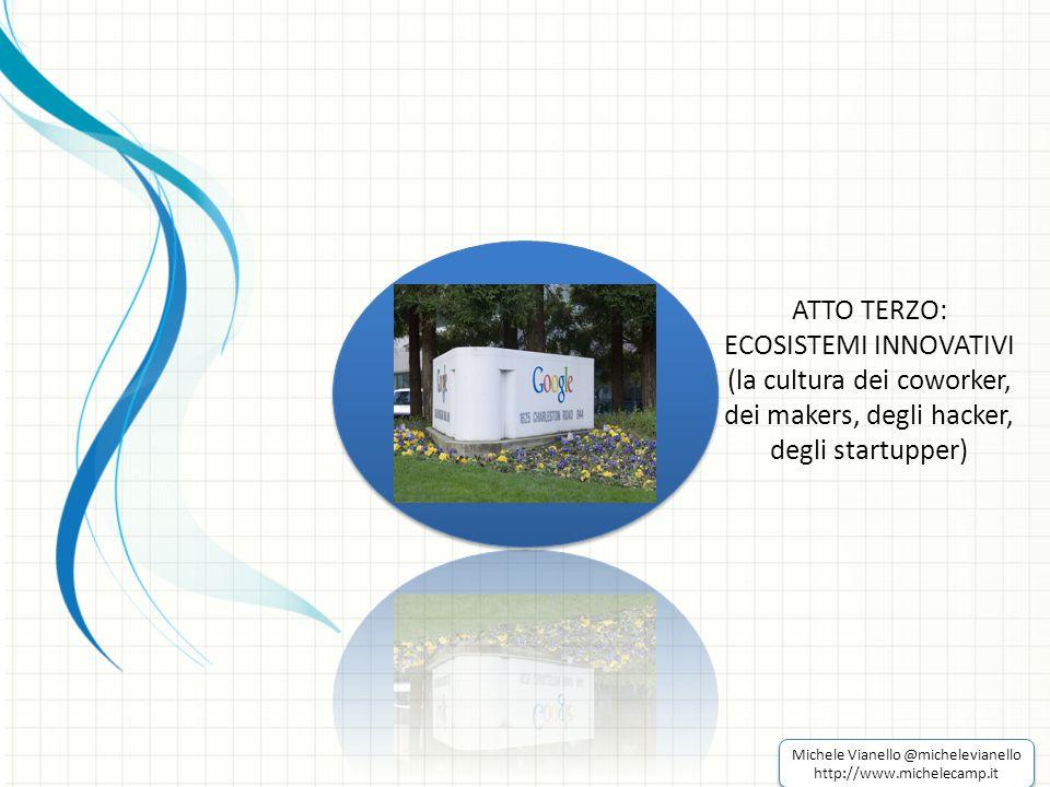 ATTO TERZO: ECOSISTEMI INNOVATIVI (la cultura dei coworker, dei makers, degli hacker, degli startupper) Michele Vianello @michelevianello http://www.michelecamp.it Michele Vianello @michelevianello http://www.michelecamp.it