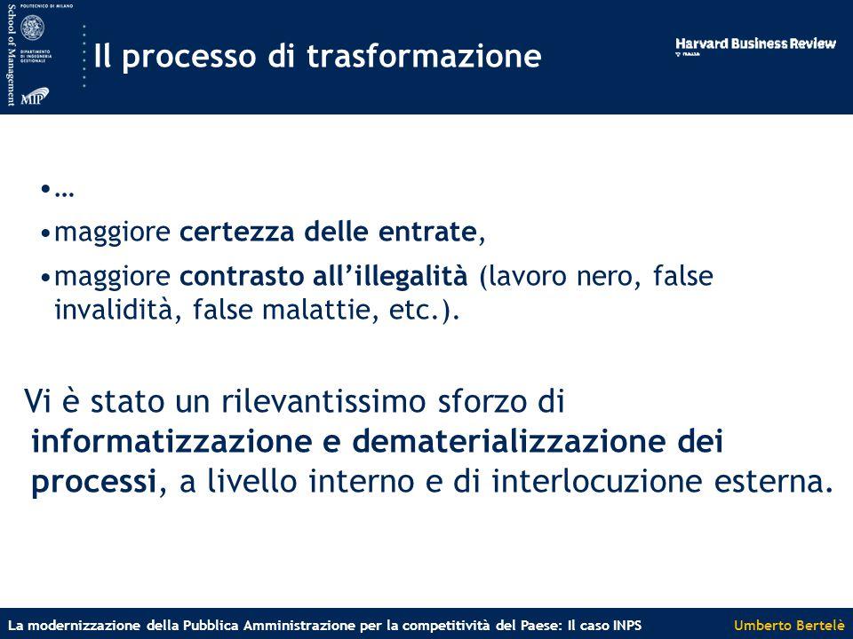 Umberto BertelèLa modernizzazione della Pubblica Amministrazione per la competitività del Paese: Il caso INPS Il processo di trasformazione … maggiore certezza delle entrate, maggiore contrasto all'illegalità (lavoro nero, false invalidità, false malattie, etc.).