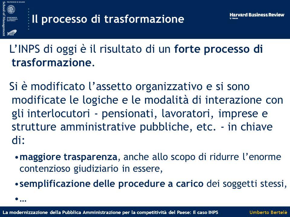 Umberto BertelèLa modernizzazione della Pubblica Amministrazione per la competitività del Paese: Il caso INPS Il processo di trasformazione L'INPS di oggi è il risultato di un forte processo di trasformazione.