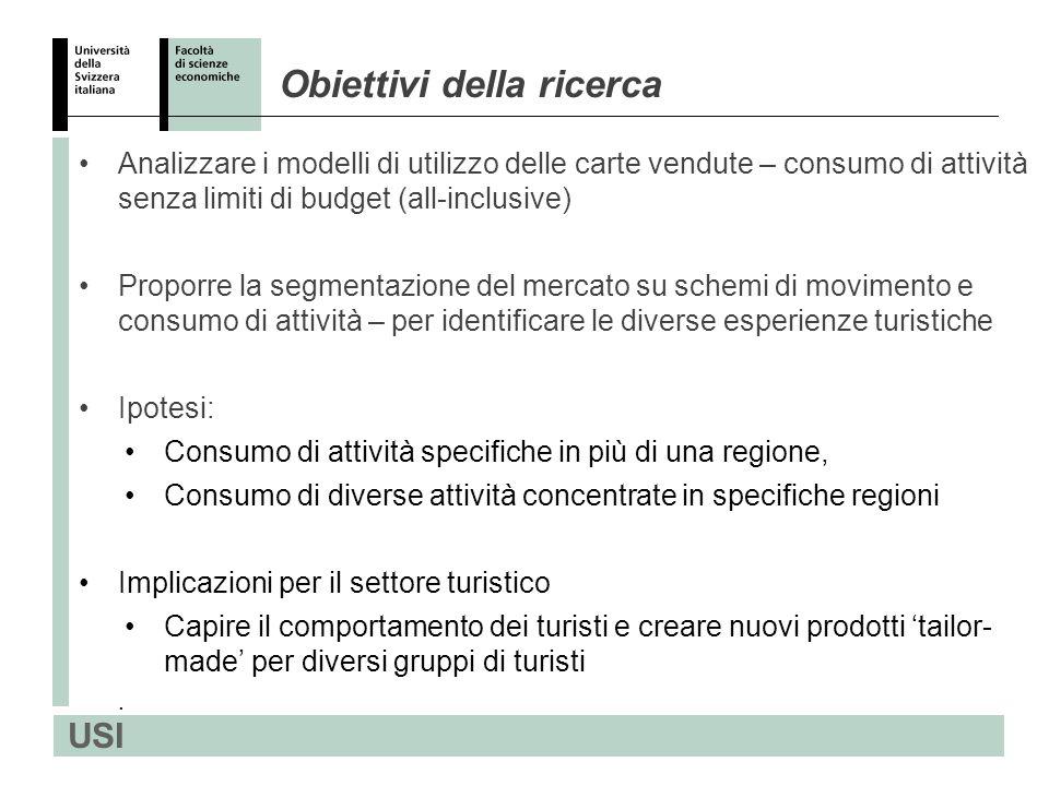 USI 1.Bellinzona/Alto Ticino - 2 attività consumate su 7 - 3% carte vendute 2.Lago Maggiore/Valli - 10 attività consumate su 13 - 23 % carte vendute 3.Regione Lago di Lugano - 9 attività consumate su 11 - 64% carte vendute 4.Mendrisiotto - 2 attività consumate su 6 - 10% carte vendute Attività nelle 4 regioni e loro utilizzo