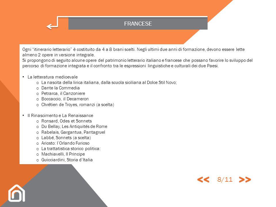 FRANCESE VERSANTE LETTERARIO Contenuti Il programma di letteratura si compone di 9 tematiche culturali; la scelta di autori e testi è lasciata all'ins