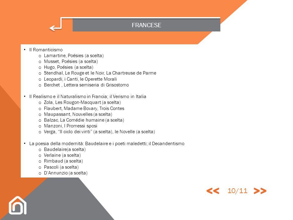 FRANCESE La Controriforma e il Barocco; il Classicismo o Corneille, Théâtre (a scelta) o Racine, Théâtre (a scelta) o Molière, Théâtre (a scelta) o La