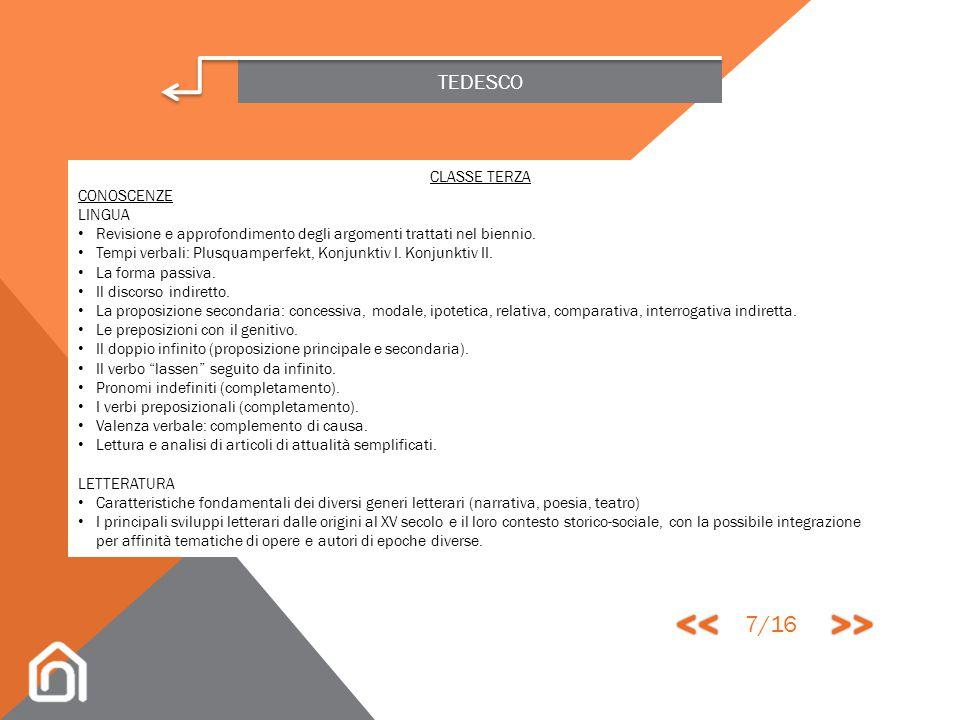 TEDESCO OBIETTIVI MINIMI PER L'AMMISSIONE ALLA CLASSE SUCCESSIVA CONOSCENZE Conoscere e saper usare con buona padronanza il lessico e le espressioni d