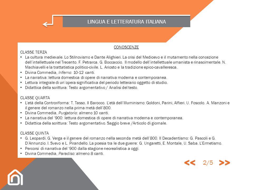 LINGUA E LETTERATURA ITALIANA La lingua italiana rappresenta un bene culturale trasversale e un mezzo preliminare di accesso alla conoscenza, oltre ch