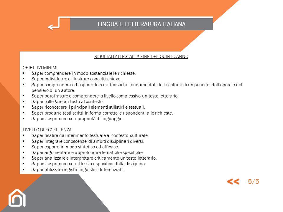 LINGUA E LETTERATURA ITALIANA ABILITÀ Lettura, analisi e interpretazione di un testo letterario degli autori in programma. Organizzazione di un discor