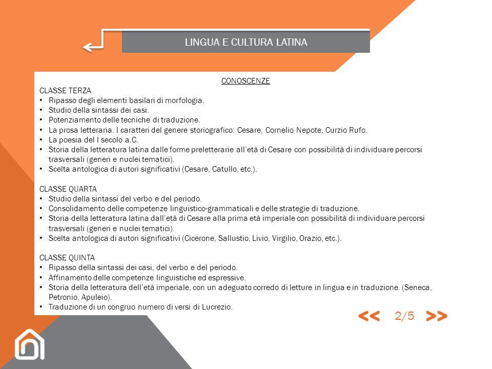 LINGUA E CULTURA LATINA L'insegnamento delle Lettere latine nel secondo biennio del nostro liceo scientifico è rivolto a consolidare le competenze lin