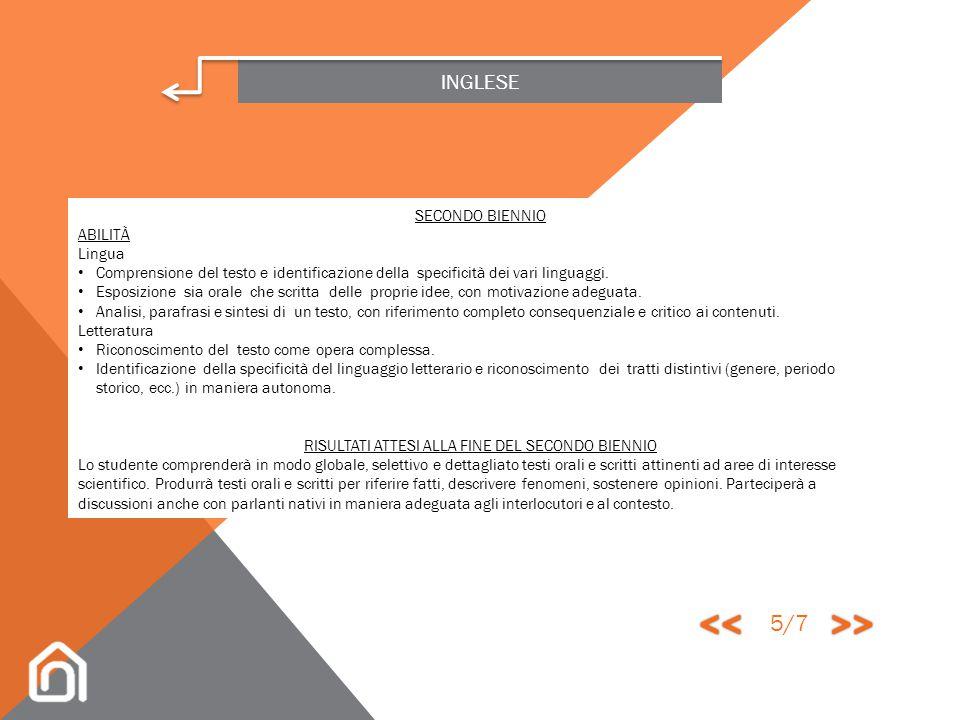 INGLESE SECONDO BIENNIO CONOSCENZE Lingua Ampliamento, revisione e approfondimento delle strutture lessicali e morfosintattiche che permettono un uso