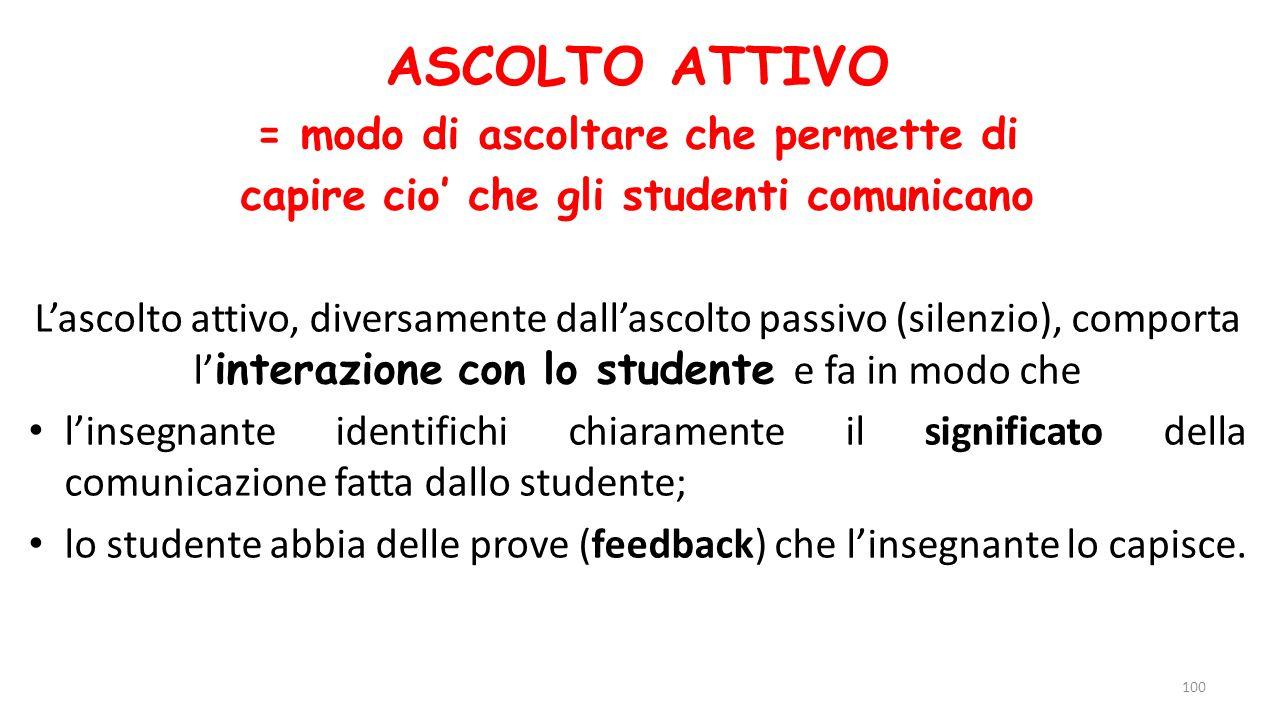 ASCOLTO ATTIVO = modo di ascoltare che permette di capire cio' che gli studenti comunicano L'ascolto attivo, diversamente dall'ascolto passivo (silenz