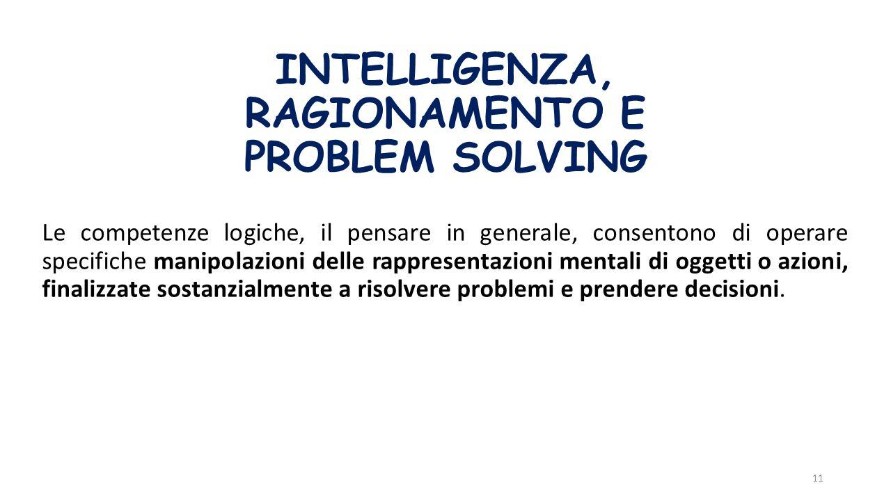 INTELLIGENZA, RAGIONAMENTO E PROBLEM SOLVING Le competenze logiche, il pensare in generale, consentono di operare specifiche manipolazioni delle rappr