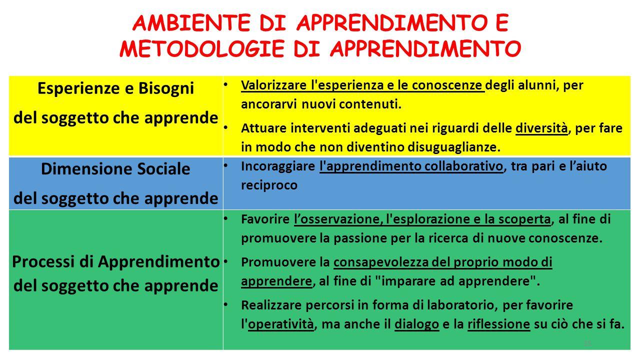 Esperienze e Bisogni del soggetto che apprende Valorizzare l'esperienza e le conoscenze degli alunni, per ancorarvi nuovi contenuti. Attuare intervent