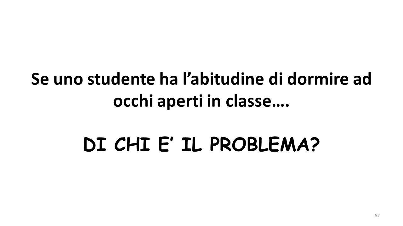 Se uno studente ha l'abitudine di dormire ad occhi aperti in classe…. DI CHI E' IL PROBLEMA? 67
