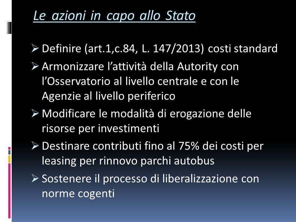 Le azioni in capo allo Stato  Definire (art.1,c.84, L.