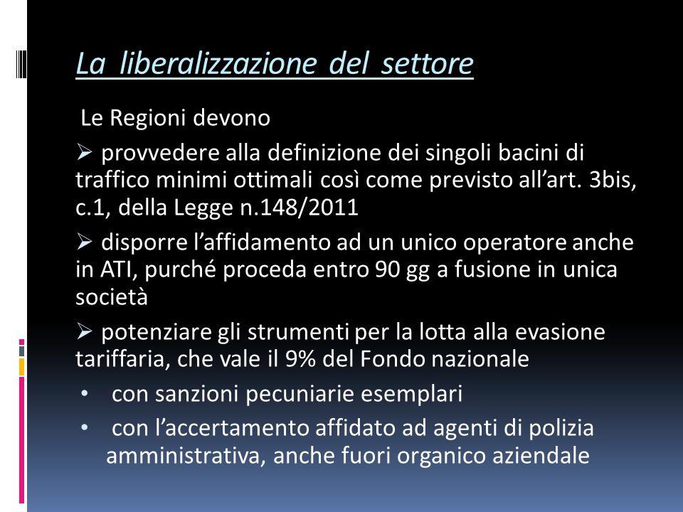 La liberalizzazione del settore Le Regioni devono  provvedere alla definizione dei singoli bacini di traffico minimi ottimali così come previsto all'art.