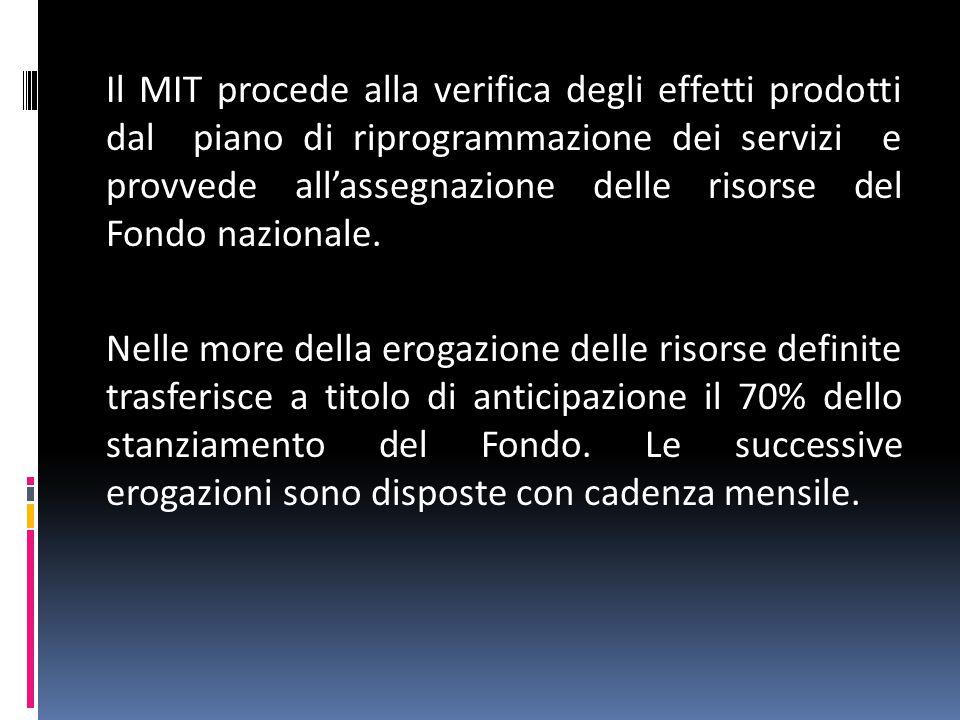 Il MIT procede alla verifica degli effetti prodotti dal piano di riprogrammazione dei servizi e provvede all'assegnazione delle risorse del Fondo nazionale.