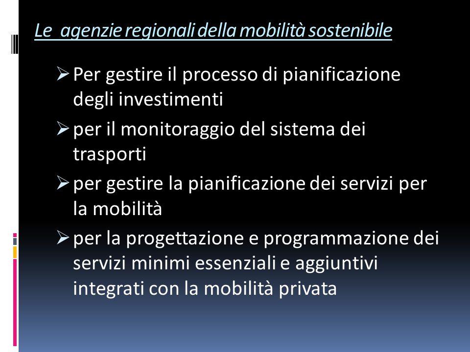 Le agenzie regionali della mobilità sostenibile  Per gestire il processo di pianificazione degli investimenti  per il monitoraggio del sistema dei trasporti  per gestire la pianificazione dei servizi per la mobilità  per la progettazione e programmazione dei servizi minimi essenziali e aggiuntivi integrati con la mobilità privata