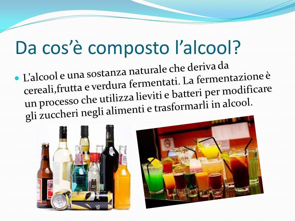 Da cos'è composto l'alcool? L'alcool e una sostanza naturale che deriva da cereali,frutta e verdura fermentati. La fermentazione è un processo che uti