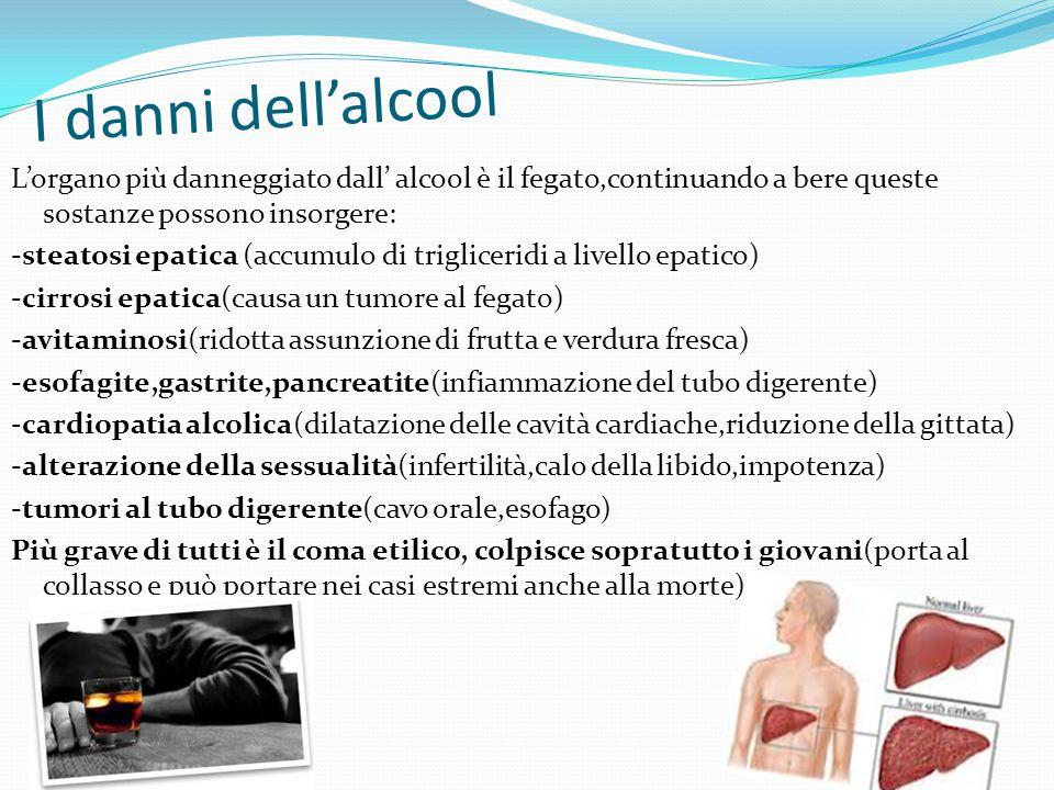 I danni dell'alcool L'organo più danneggiato dall' alcool è il fegato,continuando a bere queste sostanze possono insorgere: -steatosi epatica (accumul