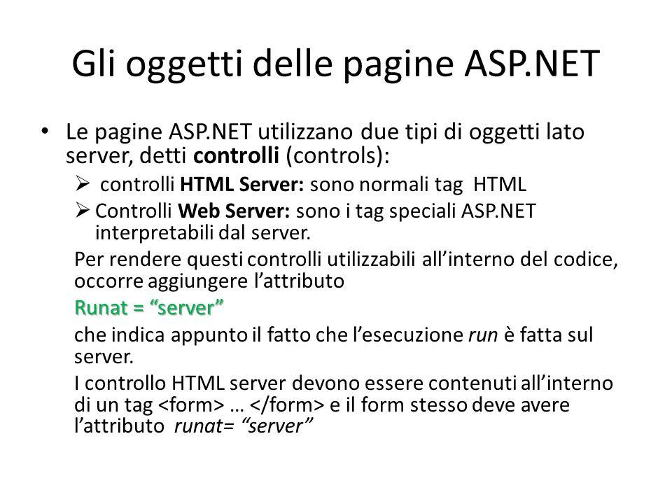 Gli oggetti delle pagine ASP.NET Le pagine ASP.NET utilizzano due tipi di oggetti lato server, detti controlli (controls):  controlli HTML Server: sono normali tag HTML  Controlli Web Server: sono i tag speciali ASP.NET interpretabili dal server.