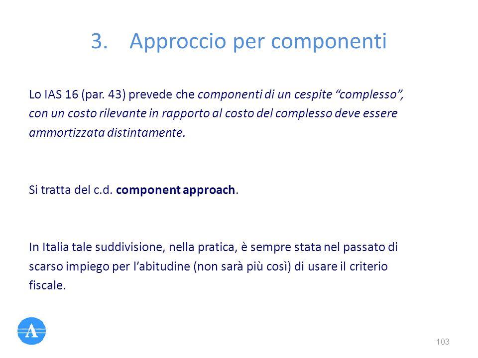 """Lo IAS 16 (par. 43) prevede che componenti di un cespite """"complesso"""", con un costo rilevante in rapporto al costo del complesso deve essere ammortizza"""