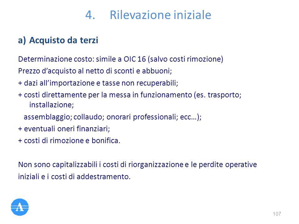 4.Rilevazione iniziale Determinazione costo: simile a OIC 16 (salvo costi rimozione) Prezzo d'acquisto al netto di sconti e abbuoni; + dazi all'import