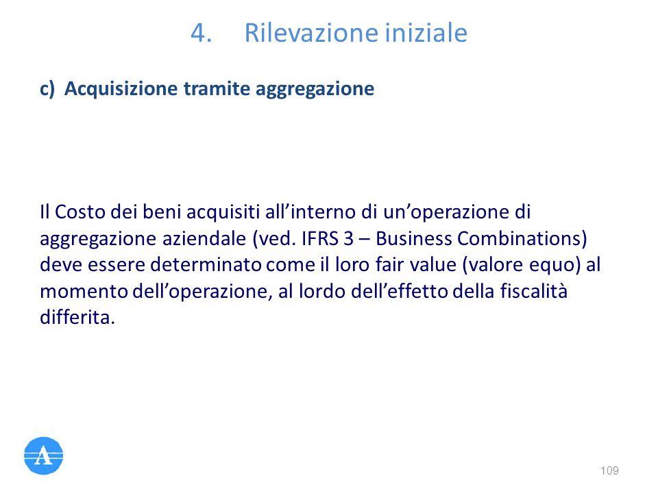 4.Rilevazione iniziale Il Costo dei beni acquisiti all'interno di un'operazione di aggregazione aziendale (ved. IFRS 3 – Business Combinations) deve e