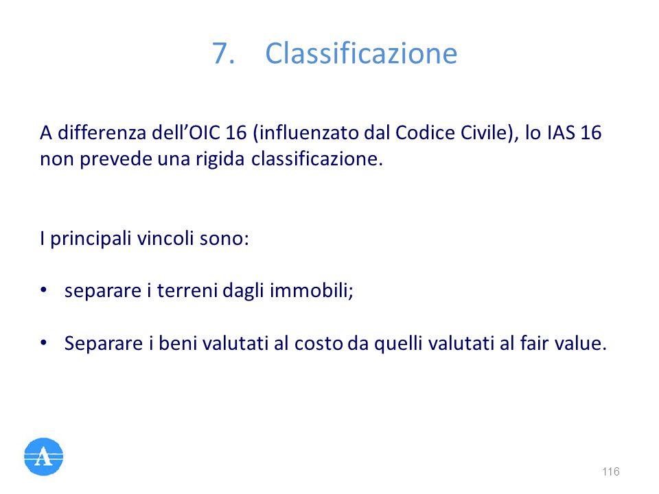 A differenza dell'OIC 16 (influenzato dal Codice Civile), lo IAS 16 non prevede una rigida classificazione. I principali vincoli sono: separare i terr