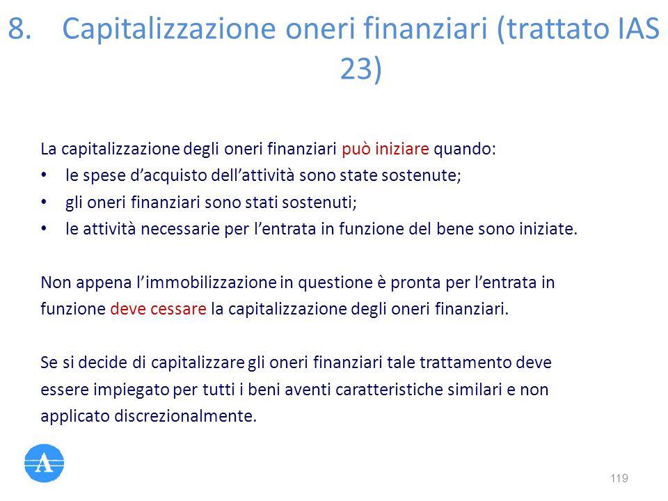 8.Capitalizzazione oneri finanziari (trattato IAS 23) La capitalizzazione degli oneri finanziari può iniziare quando: le spese d'acquisto dell'attivit