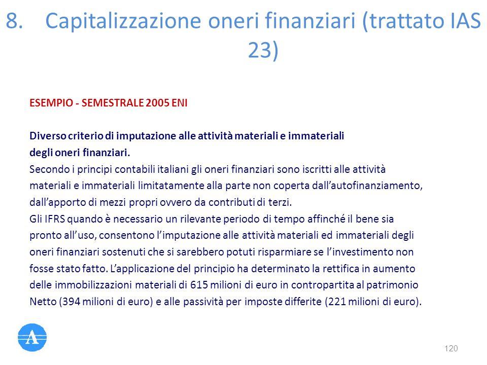 ESEMPIO - SEMESTRALE 2005 ENI Diverso criterio di imputazione alle attività materiali e immateriali degli oneri finanziari. Secondo i principi contabi