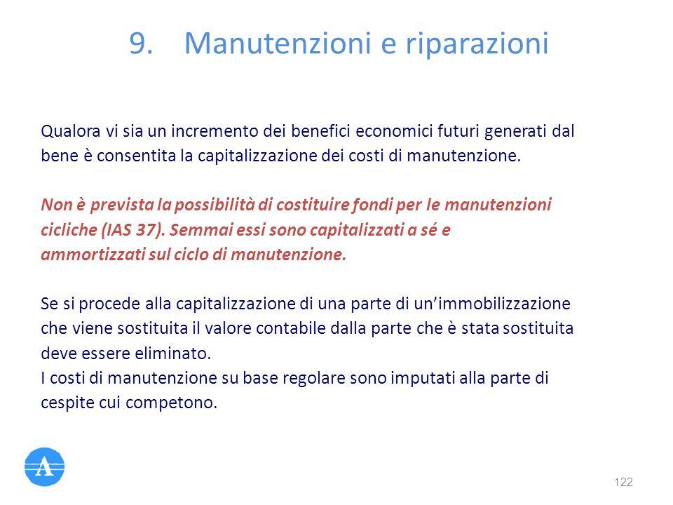Qualora vi sia un incremento dei benefici economici futuri generati dal bene è consentita la capitalizzazione dei costi di manutenzione. Non è previst