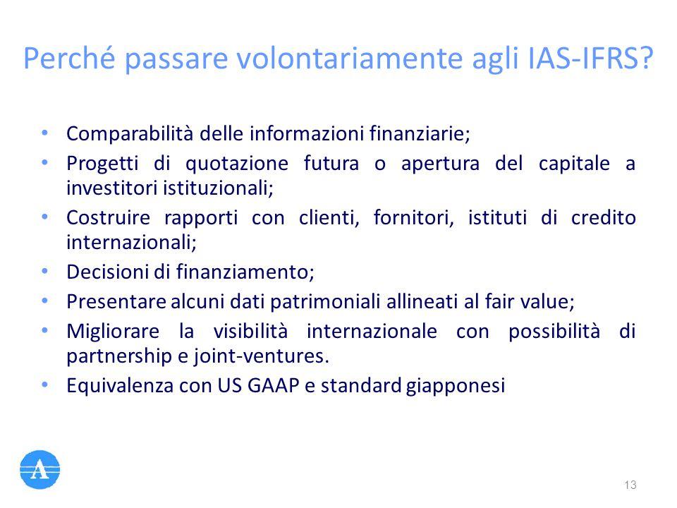 Perché passare volontariamente agli IAS-IFRS? Comparabilità delle informazioni finanziarie; Progetti di quotazione futura o apertura del capitale a in