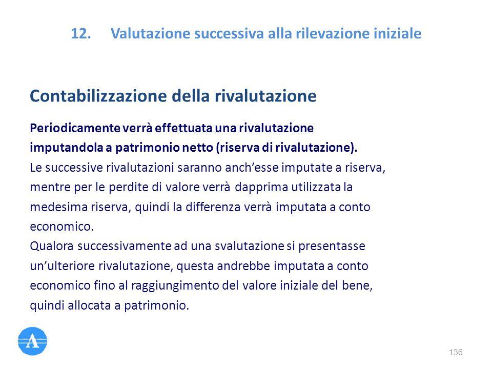 12.Valutazione successiva alla rilevazione iniziale Contabilizzazione della rivalutazione Periodicamente verrà effettuata una rivalutazione imputandol