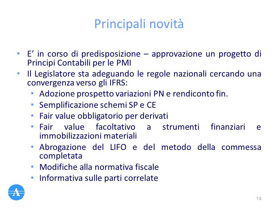Principali novità E' in corso di predisposizione – approvazione un progetto di Principi Contabili per le PMI Il Legislatore sta adeguando le regole na