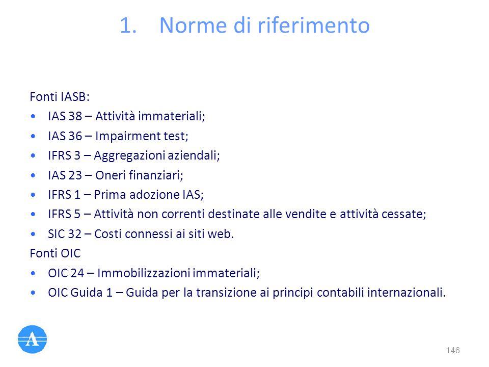 1.Norme di riferimento Fonti IASB: IAS 38 – Attività immateriali; IAS 36 – Impairment test; IFRS 3 – Aggregazioni aziendali; IAS 23 – Oneri finanziari