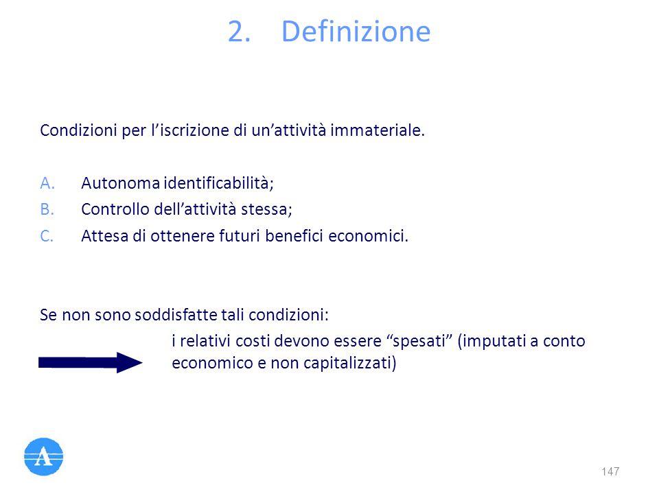 2.Definizione Condizioni per l'iscrizione di un'attività immateriale. A.Autonoma identificabilità; B.Controllo dell'attività stessa; C.Attesa di otten