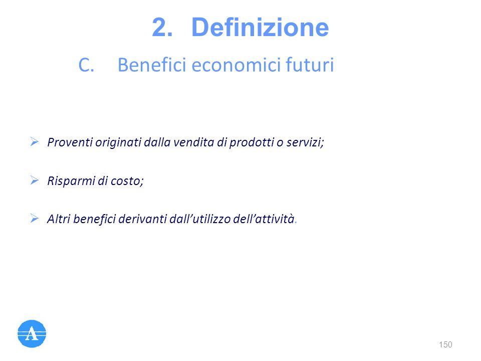 2.Definizione C.Benefici economici futuri  Proventi originati dalla vendita di prodotti o servizi;  Risparmi di costo;  Altri benefici derivanti da