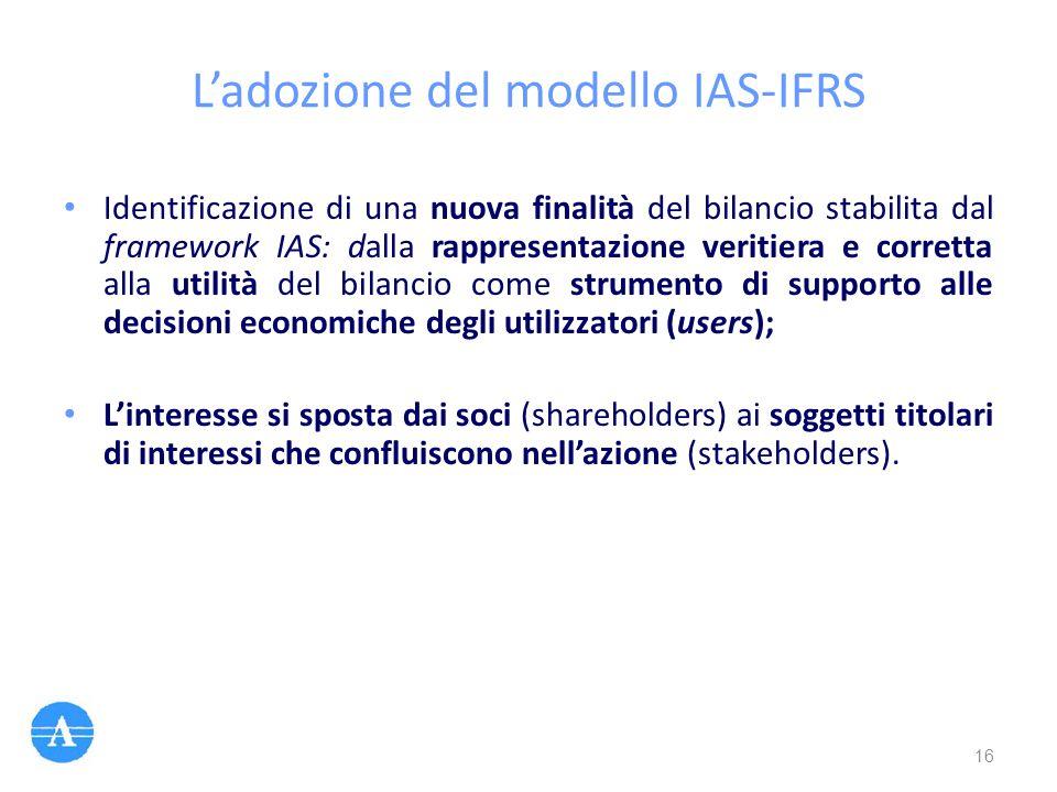 L'adozione del modello IAS-IFRS Identificazione di una nuova finalità del bilancio stabilita dal framework IAS: dalla rappresentazione veritiera e cor