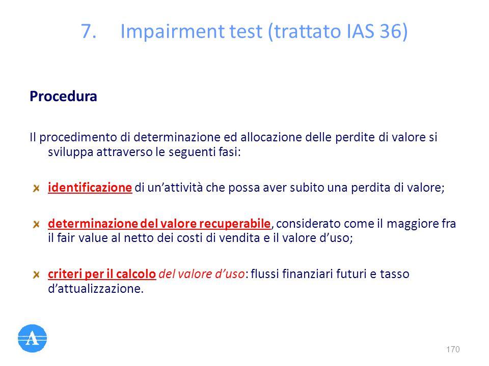 Procedura Il procedimento di determinazione ed allocazione delle perdite di valore si sviluppa attraverso le seguenti fasi: identificazione di un'atti