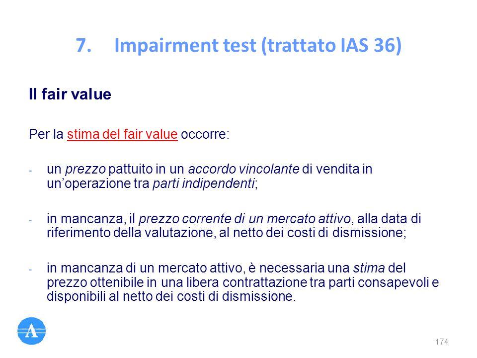Il fair value Per la stima del fair value occorre: - un prezzo pattuito in un accordo vincolante di vendita in un'operazione tra parti indipendenti; -